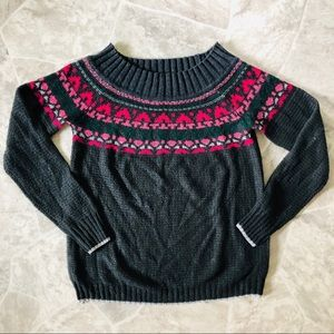 MAURICES grey off the shoulder fair isle sweater L